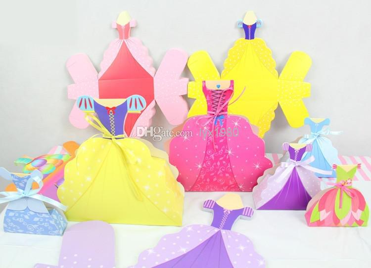 Princess Wedding Dress Gown Candy Favor Box Gift Bags For