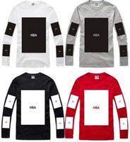 Wholesale Big Red Hood - Wholesale-100% cotton big block design tee shirt hip hop t shirt stree fashion special tshirt Hood By Air HBA pyrex long sleeve t-shirt