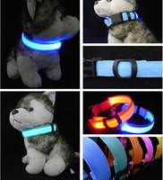 Wholesale Led Flashing Lights For Dogs - LED Nylon Light Flashing Dog Safety Collar For Night polyester Adjustable necklace Pet Leash Dog Collar Flashing Safety Collar