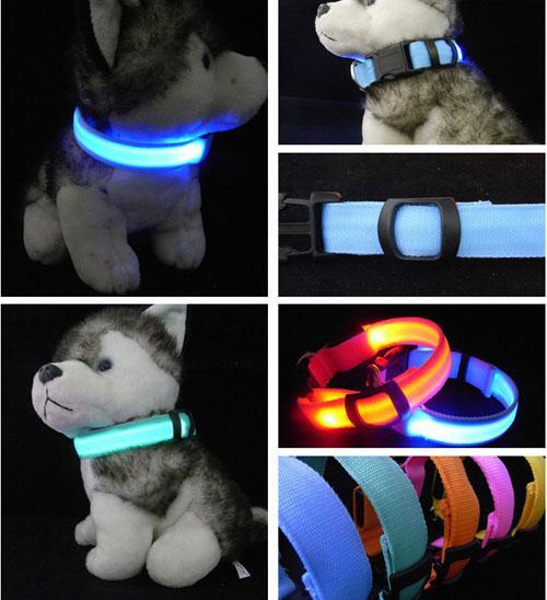 top popular LED Nylon Light Flashing Dog Safety Collar For Night polyester Adjustable necklace Pet Leash Dog Collar Flashing Safety Collar 2019