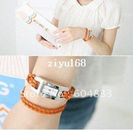 Wholesale Leather Cord Free Shipping - Wholesale fashion Braided Leather Cord bracelet Lady wrist watch.Hot~Free shipping.