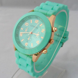 Wholesale Color Geneva New Style Fashion - Luxury Mint Green Geneva watch New style Shadow geneva watch Rose Gold color rubber silicone candy unisex Geneva quartz watches