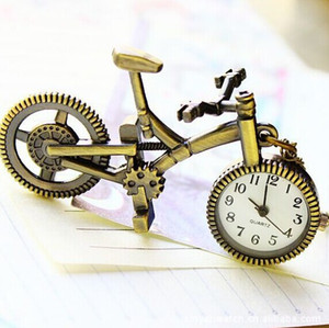 Wholesale Retro Mini Bronze Bike Bicycle Design Vintage Bicycle Pocket Watch Pendant Necklace With Chain Jewelry Boy Girl Gift