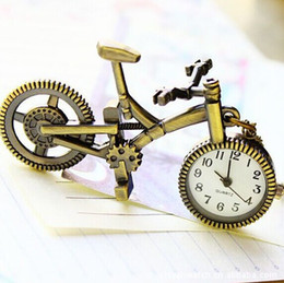 Wholesale Bike Steel Jewelry - Retro Mini Bronze Bike Bicycle Design Vintage Bicycle Pocket Watch Pendant Necklace With Chain Jewelry Boy Girl Gift
