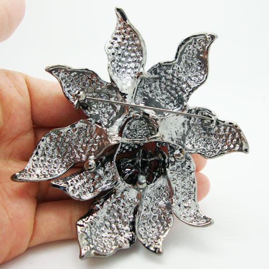 All'ingrosso -Classic cristallo nero strass Grandi fiori orchidea spilla perni gioielli donna
