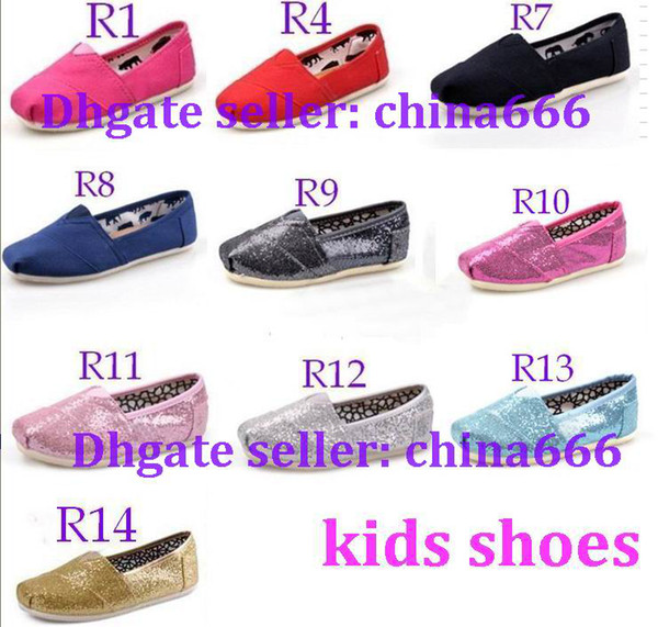 best selling 2014 Free shipping NEW 10 colors Children's or girl's kind's Classic comfortable canvas shoes EVA casual glitter Flat shoes shoe 1pairs