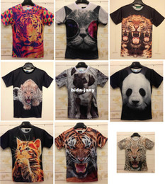 2019 camisetas de la impresión del leopardo al por mayor Venta al por mayor-libre Moda Animal Print 3D camiseta 3D divertido Crazy Tiger / Leopard / Panda / Pug / Cat Print camiseta hombre Z008 camisetas de la impresión del leopardo al por mayor baratos