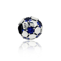 Wholesale European Football Beads - 925 Sterling Silver Football Bead with Blue Stone Eyes Charm Bead Fits European Pandora Jewelry Bracelets Necklaces & Pendants