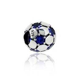 Wholesale Stone Pandora - 925 Sterling Silver Football Bead with Blue Stone Eyes Charm Bead Fits European Pandora Jewelry Bracelets Necklaces & Pendants