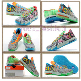 Wholesale Kevin Durant Orange Trainers Low Cut - Cheap Basketball Shoes DS KD VI What the KD Kevin Durant Sports Shoes KD Sneakers Mens Trainers Athletics Basketball Boots Free Shippment