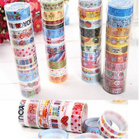 Wholesale Book Tapes - 60pcs Cartoon Washing Masking Tape Colorful Book Sticky Creative Stationery DIY Grid Cup Stickers Children Gift FREE SHIPPIN [FG08005(10)*6]