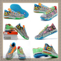 Wholesale Cheap Men Kd Shoes - Brand Basketball Shoes DS KD VI What the KD Kevin Durant Shoes KD Sneakers Mens Trainers kd Athletics Basketball Boots Cheap Training Shoes