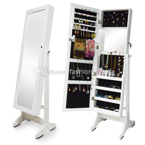 2018 Jewelry Armoire Organizer Storage Wall Or Door Mount Mirrored