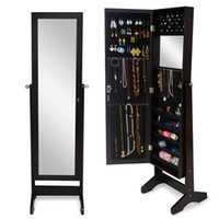 Wholesale Bedroom Armoire Furniture - Wood Jewelry Cabinet Jewelry Storage Armoire Display Organizer Box With Full Length Mirror Free Standing (USA warehouse)