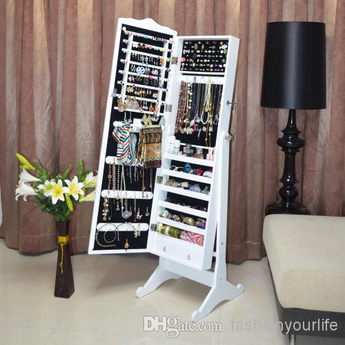 Elegant 2018 Wood Jewelry Box Jewelry Armoire Cabinet Storage Organizer With Full  Length Mirror Living Room Furniture Stock In Usa From Fashionyourlife, ...