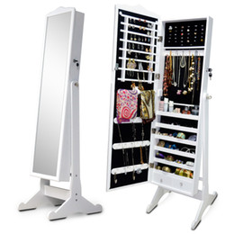 Wholesale Dress Jewelry Stands - Wooden Jewelry Armoire Display Cabinet Storage Case Jewelry Organizer Box With Dressing Mirror Free Standing Stock in USA