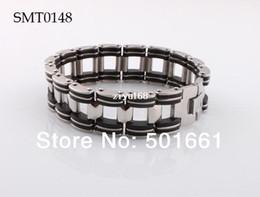 Wholesale Charm Rubber Bracelet - wholesale 6pcs lot new 2014 man bracelet Chain Stainless Steel charm bracelets&bangles Fashion Black Rubber for men jewelry