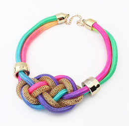 Wholesale Handmade Cord Necklace - 2014 New Fashion Handmade Neon Cotton Cord Knot Weave Collar Choker Necklace Bib Statement Necklace For Women