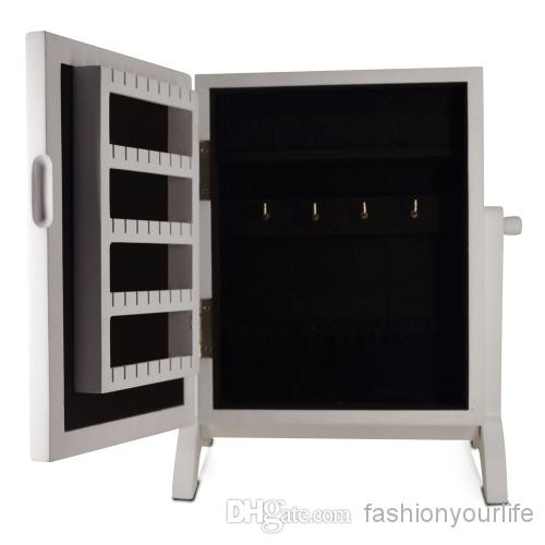 Mirror Jewelry Armoire Mini Wooden Jewelry Organizer Bedroom