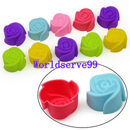 Wholesale Cupcake Mold Diy - 10X Silicone Rose Muffin Cup 7cm Cake Cookie Baking Mold Cupcake Jelly Maker Mould DIY Cake Tool