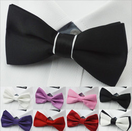 Wholesale Plain Skinny Ties - Free Shipping Men's Bow Ties Solid Color Plain Satin Skinny Ties Groom Necktie Silk Jacquard Woven Tie In Stock