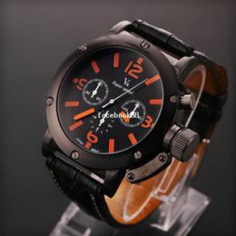Wholesale V6 Watches Wholesale - 2pcs lot Men Luxury V6 Sports Watch Orange white Pointers Quartz watches PU belt Wristwatches Hot LRY03