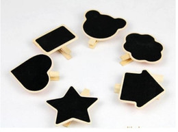 Wholesale Chalk Message Board - Free Shipping 50 x Mini Blackboard Chalk Boards Wood clamp message boardWedding Label Shop Sign  Cartoon clip chalknpards Party Decorations