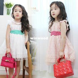 Wholesale Korean Beautiful Dresses - Girls Lace Dress 2014 New Fashion Korean Children Clothing Girl Beautiful White & Pink Princess Dresses Kids Baby Clothes