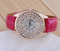 Wholesale Assorted Women Watches - JW002 Gorgeous Women Full Rhinestone Dress Watches Luxury Imitation Diamond Sparkling Watches Assorted Color PU Leather Clock