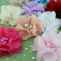 "Wholesale Handmade Beaded Headbands - 2"" Beaded chiffon flower pearl Rhinestone fabric flower Handmade flower for Baby & Kids hair band or clips flat back 40pcs lot"