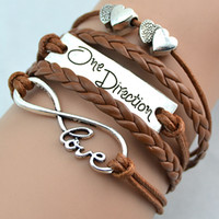 One Direction Bracelets Moda Love Bracelets One Direction Love Double Hearts Estilo 12 cores Encantadora artesanal Jóias Love Bracelets