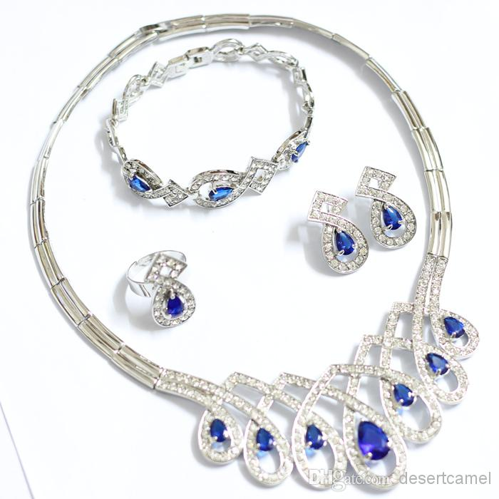 2018 Silver Jewelry Sets Blue Rhinestone Italy Designer Guangzhou