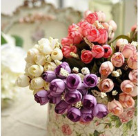 Wholesale Silk Rosebuds - Wholesale - Hot recommend 15 mini rose 7 color selection rosebuds stars bud silk artificial flowers artificial flowers, free shipping