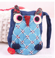 Wholesale Kids Owl Purses - National Style Adorable Owl Purse Bag Children Girls Boys Backpacks Colorful Ethnic Kids Animal Modern Patched Lacing Packbags 20pcs lot