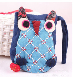 Wholesale Backpack Colorful - National Style Adorable Owl Purse Bag Children Girls Boys Backpacks Colorful Ethnic Kids Animal Modern Patched Lacing Packbags 20pcs lot