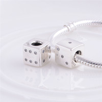 Wholesale round dice - 925 Sterling Silver Thread Lucky Dice Charm Bead with Clear Zirconia Fits European Pandora Jewelry Bracelets Necklaces & Pendants