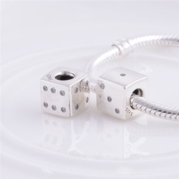 Wholesale pandora lucky charm - 925 Sterling Silver Thread Lucky Dice Charm Bead with Clear Zirconia Fits European Pandora Jewelry Bracelets Necklaces & Pendants