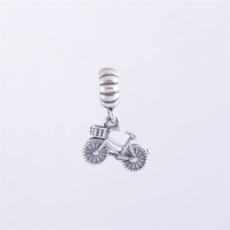 Wholesale Necklace Thread Beads - 100% 925 Sterling Silver Thread Bicycle Dangle Charm Bead Fits European Pandora Jewelry Bracelets Necklaces & Pendants