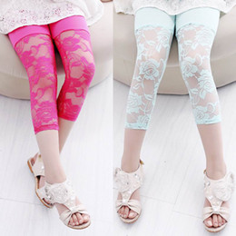 Wholesale Girls 5t Tights - 2014 New Girl Modal Lace Legging Candy Color Summer Breeches 2-5T