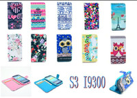 Wholesale Tribal Cover S3 - Wallet Leather Case Cover For Samsung Galaxy S3 i9300 Tribal Owl Flower Eiffel Tower Keep Calm With Credit Card Stand Free Shipping