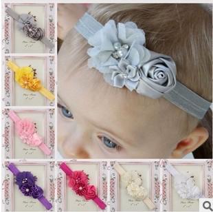 Bébé Infantile Accessoires de Cheveux Rose Fleur Perle Combinaison Filles Bande de Cheveux Enfants Bandeau Bébés Toddler Tête Band Mix Couleur QZ4