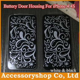 Wholesale Iphone4 Housing White - iPhone 4 4S Glass Rear Cover Case Replacement Back Battery Door Housing Repair Parts for iPhone4 4S High Quality White & Black Free DHL