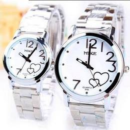 Wholesale Line Luxury Heart - Stainless Steel Watchband Couple Watches On Line Cheap Luxury heart designer Silvery Outdoor Sport Quartz lovers Wrist Watch Valentines Gift