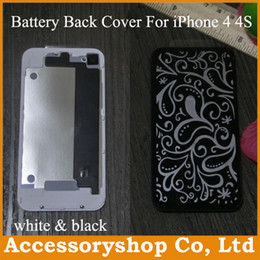 Wholesale Iphone4 Housing White - iPhone 4 4S Glass Rear Cover Case Replacement Back Battery Door Housing Repair Parts for iPhone4 4S High Quality White & Black 50pcs DHL