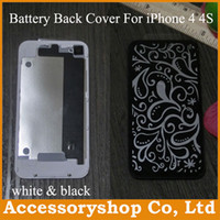Wholesale Battery Case 4s - iPhone 4 4S Glass Rear Cover Case Replacement Back Battery Door Housing Repair Parts for iPhone4 4S High Quality White & Black DHL 60pcs