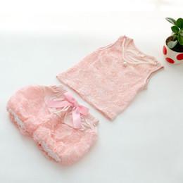 Wholesale pretty sweet - 2016 Summer Girls Vest Suits Lovely Sweet Pretty Children Pink Rose Flowers Lace Vest+Short Suits 2pec Set Clothing J0004