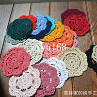 Wholesale Crochet Cup Placemat - Free shipping wholesale hand made Lace Crochet cup mat, cotton Ecru Doily ,cup pad,placemat,crochet applique 12CM, 30Pcs Lot