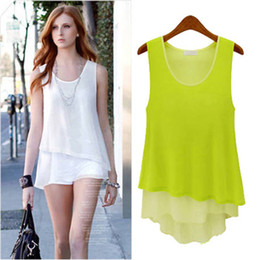 Wholesale Sleeveless Ladies Candy Color - 2009 free shipping 2017 summer women new fashion candy color irregular plus size chiffon blouses ladies girls sexy dress tops S-XL Drop ship