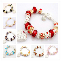 Wholesale Fashion Silver Women s Bracelet Bangles Jewelry Shiny Europe Bead Ball Lovely Heart Pendant Bracelet Bangles