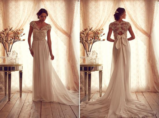 Discount 2014 Vintage Lace Chiffon Beach Wedding Dresses